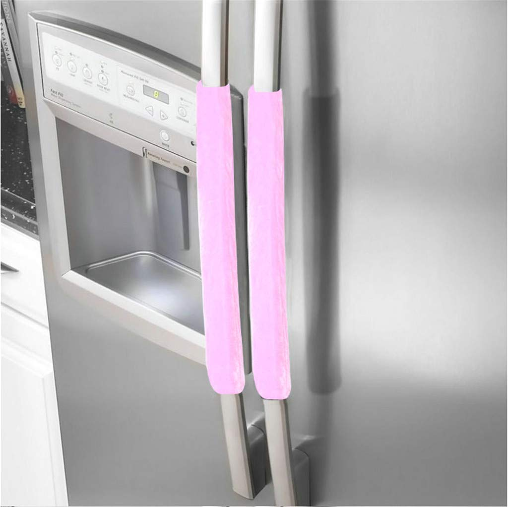 Sinwo A Pair Refrigerator Door Handle Cover Protective Kitchen Appliance Refrigerator Cover (Pink)