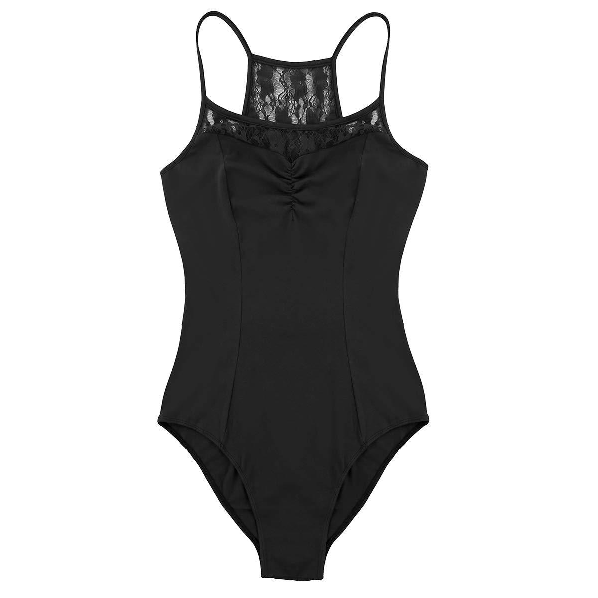 Agoky Womens Spaghetti Straps Criss Cross Back Leotard Built in Shelf Bra Bodysuit Gymnastics Ballet Dancewear