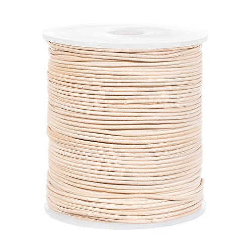 25 Yards of Solid Round 1.5mm Natural Real and Genuine Leather Cord for use as Braiding String (1.5mm, Natural) (Leather Natural Cord)