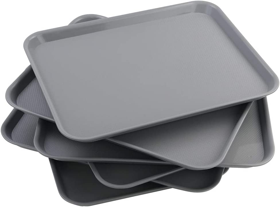 Vcansay Larger Plastic Fast Food Restaurant Serving Trays, Grey, 6 Packs