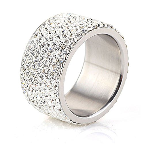 Tuji Jewelry DIY Eternity Ring 8 Rows Crystal Zircon Stainless Steel Rings for Women