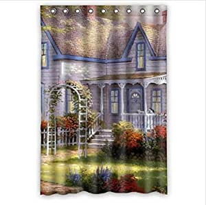 Best Custom Curtain,Personalized Summer Garden Design 100% Polyester Waterproof Shower Curtain 48 x 72 by supermalls