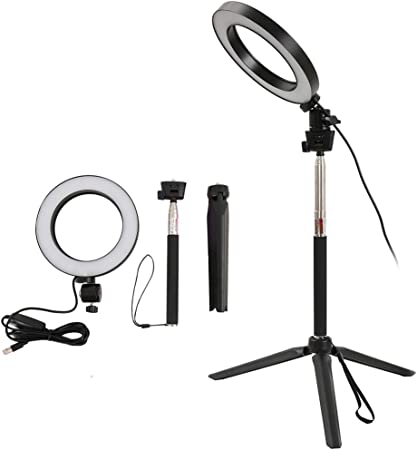 Todo para el streamer: Fulllove Anillo de luz con trípode regulable grande LED de 20 a 50 pulgadas para YouTube Vine Vlog Self Retrato de la grabación de vídeo