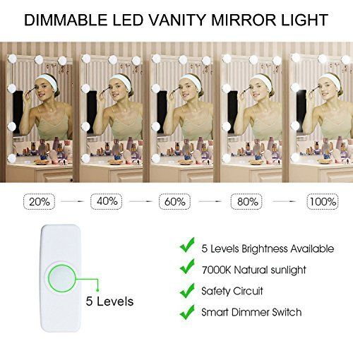 Mirror Lights, UNIFUN Hollywood Style LED Makeup Mirror Lights with 10 Dimmable Bulbs, USB Powered Flexible Lighting Fixture 7000K for Bathroom, Makeup Dressing Table (Mirror Not Include) (Button) by UNIFUN (Image #3)