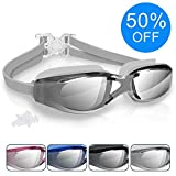 Swimming Goggles, Arteesol Anti Fog Swim Goggles Crystal Clear 180° Panoramic Vision Mirrored with 100% UV Protective Coating with Protective Case and Earplug for Adults, Men and Kids (4 Colours)