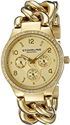 Stuhrling Original Women's 813S.03 Vogue Renoir Day and Date Swarovski Crystal-Accented 23k Gold-Layered Watch