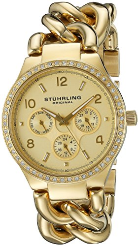 Stuhrling Original Women's 813S.03 Vogue Renoir Day and Date Swarovski Crystal-Accented 23k Gold-Layered Watch ()