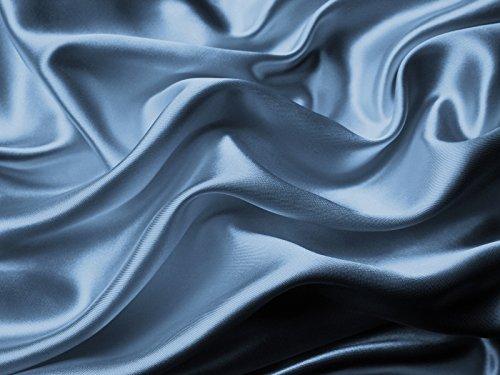4-Pc 400TC Satin Bed Sheet Pillowcase Set DP Lingerie Silky Charmeuse Light Sky Dusk Blue Queen