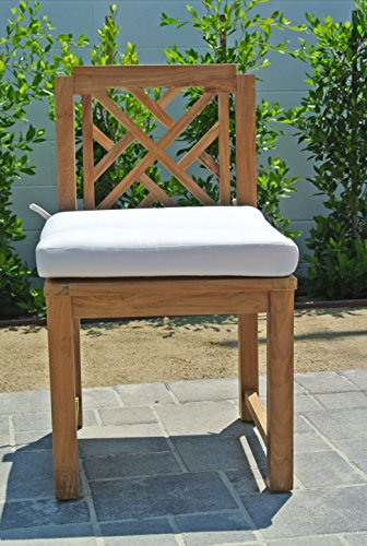 "Willow Creek Designs Monterey Teak Dining Armless Chair with Sunbrella Cushion, 20"" W x 23.5"" D x 35.5"" H, Canvas Charcoal Fabric"