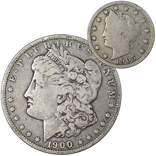 1900 Morgan Silver Dollar VF Very Fine w/ 1905 Liberty Head Nickel Good Coin Lot