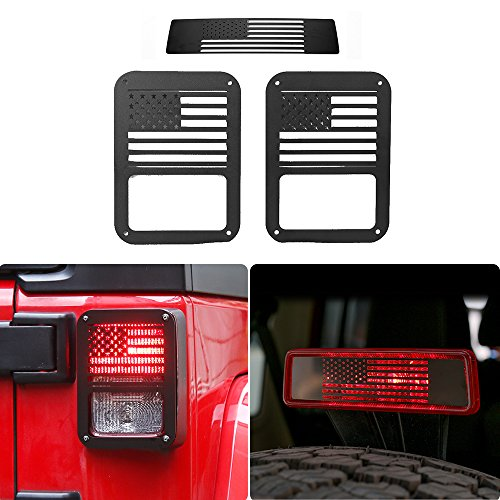 JeCar Brake Light Cover with Black Tail lamp Tail light Cover Trim Guards Protector for 3pcs 2007-2017 Jeep Wrangler JK JKU Unlimited Accessories(USA Flag)