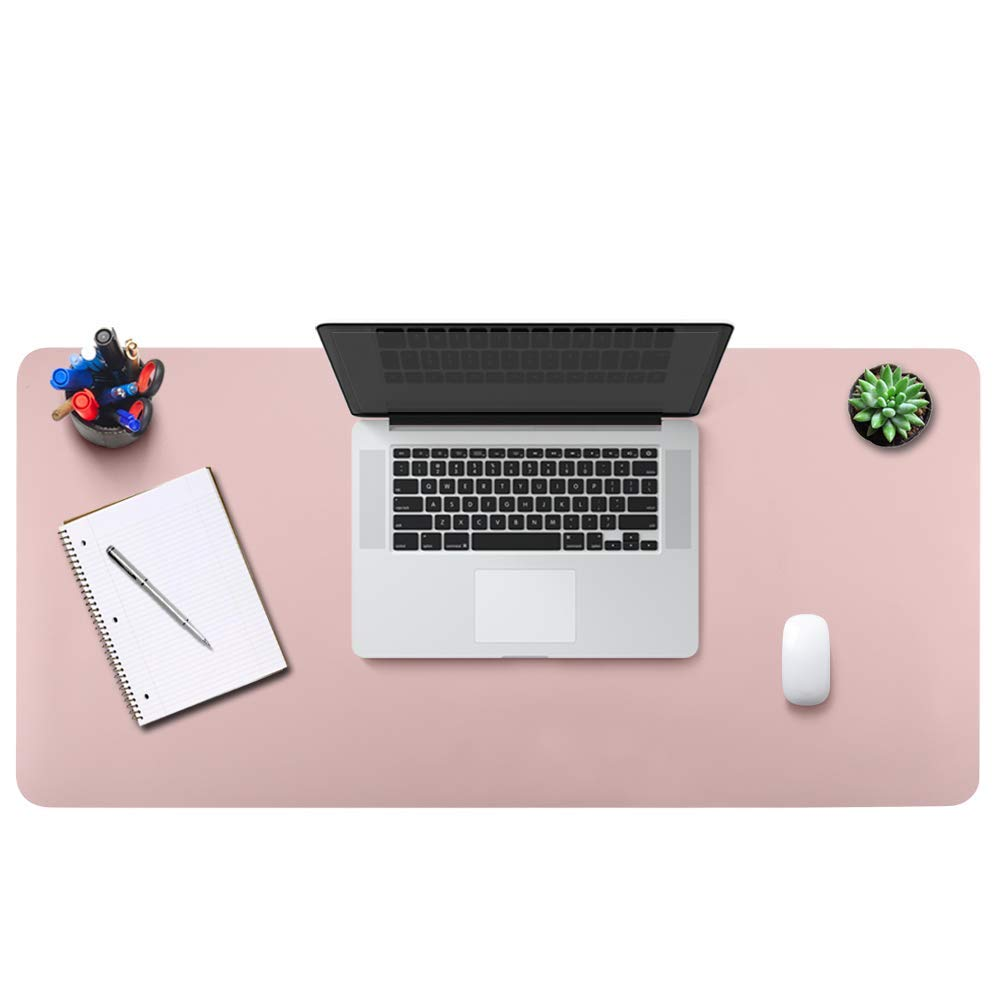 BUBM Office Desk Pad Mouse Pad 35.4'' x 17'', PU Leather Desk Mat Blotters Protecter with Comfortable Writing Surface, Pink