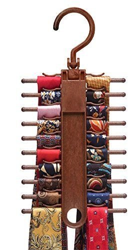 2 PACK Tie Rack Organizer Hanger Holder Storage Closet Rotating Hook Holds 20