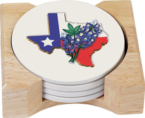 (CounterArt State of Texas with Blue Bonnet Design Round Absorbent Coasters in Wooden Holder, Set of 4)