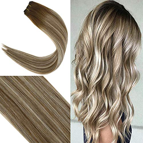 Youngsee 22inch Weft Hair Extensions Human Hair Ombre Medium Brown Fading to Blonde Balayage 1 Bundle Brazilian Human Hair Weave Weft Extensions 100g/Pack