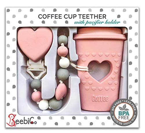 BPA Free Pacifier Clip Holder Set – Baby Teething Toys – Silicone Chew Beads and Coffee Cup Teether with Heart for Babies – Unique Newborn Baby Girl Gifts – Perfect Present for New Mom – Candy Pink