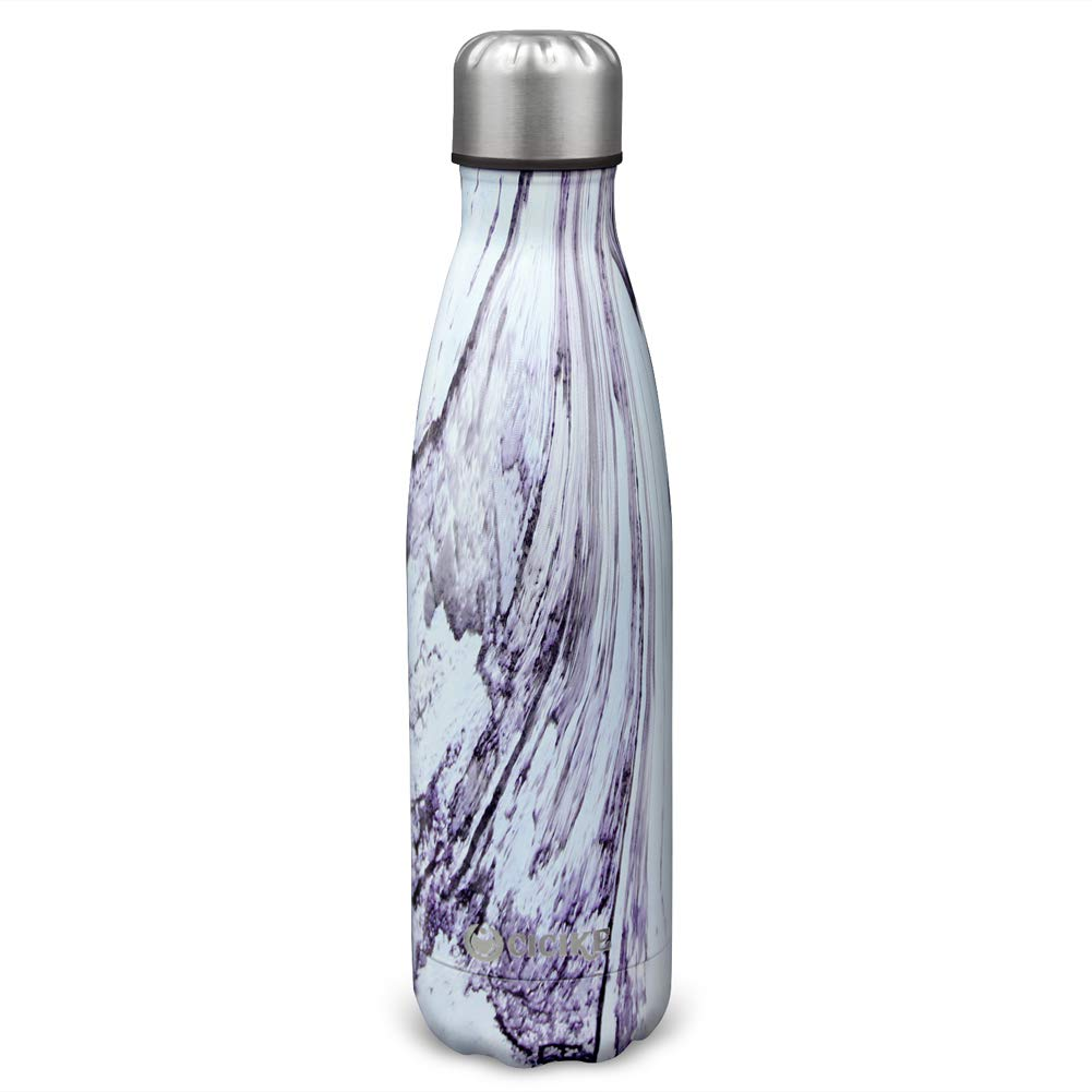 cicike Double Wall Stainless Steel Vacuum Insulated Drinking Sport Water Bottle, Leak Proof and BPA Free, for Outdoor, 17oz/500ml, Keeps Water Cold 24 Hours and Hot 12 (Lily Wood)