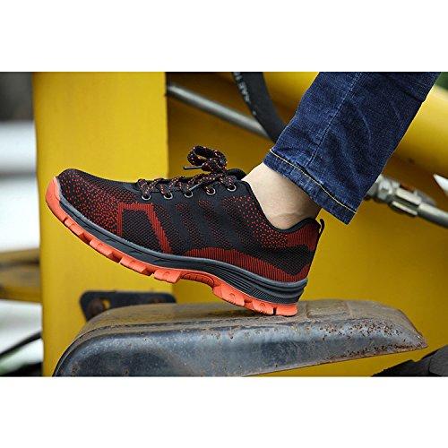 di Scarpe Style s3 Punta da Unisex Comodissime Scarpe Donna in Uomo Acciaio Red 2 Sportive Antinfortunistiche COOU Scarpe Sicurezza con Lavoro pwZqYFx