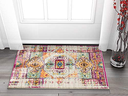 Luxuriance Global Vintage Mamluk Traditional Medallion Distressed Purple Fuchsia Yellow Gold Beige 2×4 2 3 x 3 11 Area Rug