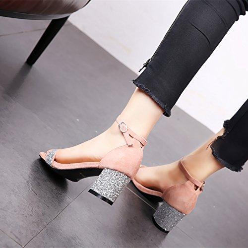 cómodo Pink Toe Altos Sandalias Square Moda señoras Lentejuelas Hueco YMFIE y Temperamento Tacones Tobillo Verano Toe talón con xnqTEa870w