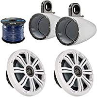 Marine Speaker Package Of 2x Kicker 41KM604W 6.5 Inch Boat Yacht Coaxial White Speaker Bundle Combo With 2x Kicker 12KMTESW 6 1/2 Wakeboard Tower Enclosures + Enrock 50 Feet 14 Guage Speaker Wire