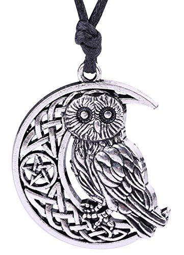 Lemegeton Ancient Cresent Moon Pentagram Celtic Knot &Goddness Symbol Owl Charm Necklace for Gifts (silver tone) ()