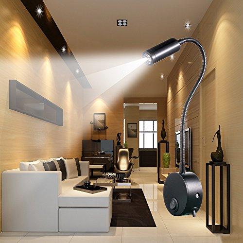 WannaBi Flexible Plug Wired 3 Watts 3W Gooseneck Led Wall Light Sconce Lamp Lighting for Bedroom Reading Bathroom by WannaBi (Image #4)