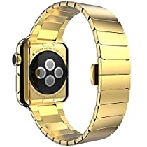 Kartice(TM) Link Bracelet Watch Band Strap Replacement For Apple Watch iWatch With Metal Adapter Clasp,Luxury 316L Stainless Steel Watchband For Apple watch&Sport&Edition-42mm Gold