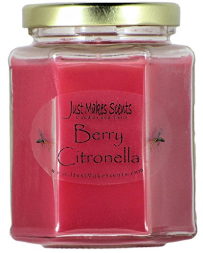 Candle Blended - Berry Citronella (Mosquito Repellant) Scented Blended Soy Candle for INDOOR Use by Just Makes Scents