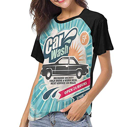 Women Print Tees,Retro,Vintage Auto Repair Art S-XXL O Neck T Shirt Female Tee