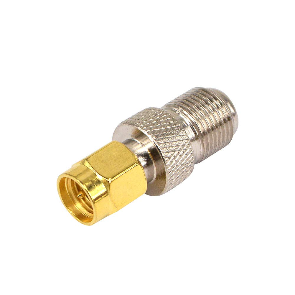 BOOBRIE Coaxial Cable Adapter SMA Antenna Wireless Coaxial Connector SMA Male to F Female Straight Angle LAN Adapter for LMR Wireless Antenna Adapter Devices Pack of 2