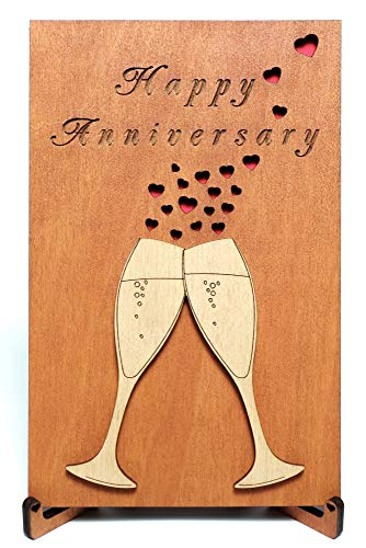 Happy Anniversary Real Wood Greeting Card with Stand best Handmade Wooden Wedding Anniversary Gift cute Present for Husband Him Men Dad Boyfriend or Wife Her Women Mom Girlfriend and Parents or Couple (Card Stands Greeting)