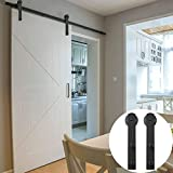 WINSOON Country Straight Wheel Exterior Diy Barn Door Track Sliding Single Hardware Black Rail Steel Roller Kit (7.5FT Single Door Set)