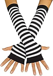 Striped Long Arm Warmer Fingerless Gloves Punk Gothic Rock
