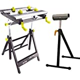 Universal work Mate adjustable height workmate DIY Folding Bench with Roller Stand