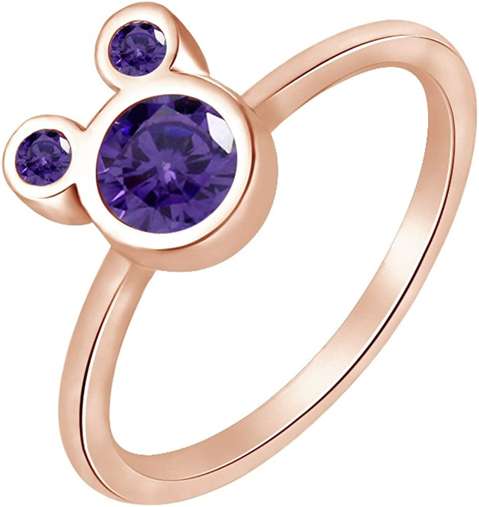 Wishrocks 925 Sterling Silver Simulated Amethyst Mickey Mouse Ring Party Jewelry for Women /& Girl