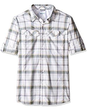 Men's Big-Tall Silver Ridge Plaid Long Sleeve Shirt, Stone/Window Pane, Large