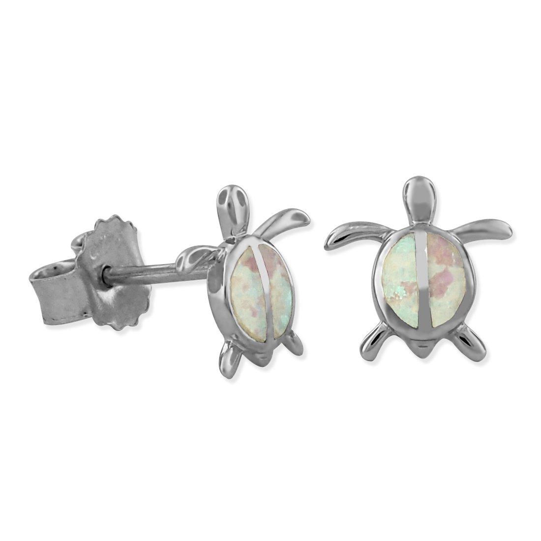 Sterling Silver Synthetic White Opal Turtle Stud Earrings Mini XS 9mm