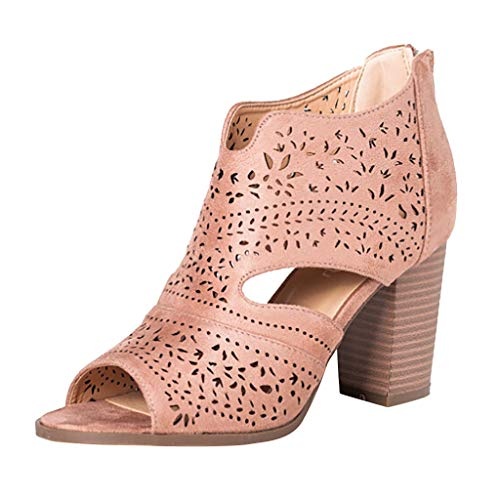 (Women Peep Toe Laser Cutout Ankle Booties Stacked Chunky Heel Back Zip Open Toe Heeled Sandals Shoes by Lowprofile Pink)