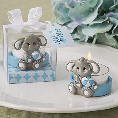 FavorOnline Cute Baby Elephant with Blue Design Tea Light Holder, -