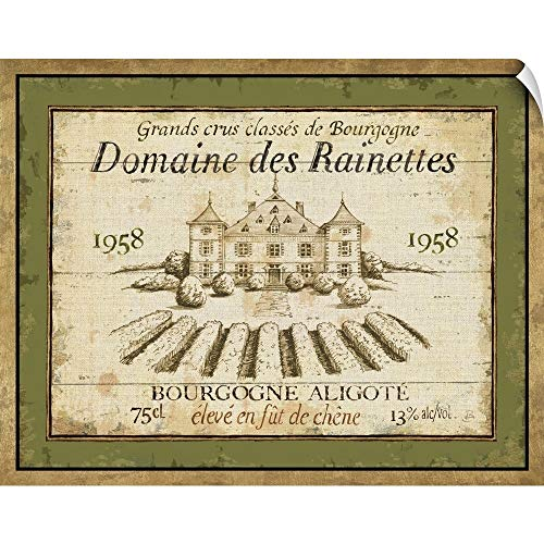 "CANVAS ON DEMAND French Wine Label III Wall Peel Art Print, 20""x16"""