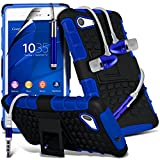 ONX3 ( Blue ) Sony Xperia Z3+, Z3 Plus Case Tough Survivor Hard Rugged Shock Proof Heavy Duty Case W/ Back Stand, Screen Protector, In Ear Earbud Stereo Hands Free Earphone & Retractable Stylus Pen