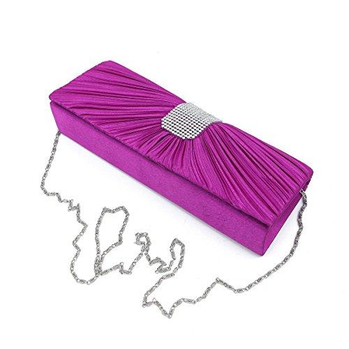 Elegant Classic Pleated Satin Flap Rhinestones Clutch Evening Bag, Fuchsia by TrendsBlue