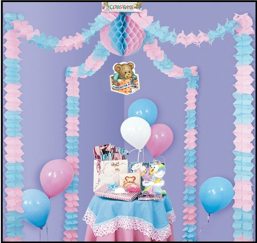 Baby Shower Party Canopy [6 Pieces] - Product Description - This Is A Beautiful Set-Up For Baby Shower Party. A Self Contained, Completely Assembled Decorating Unit, Attractively Packaged For Quick Retail Sale. Four 12' Leaf Garlands, One 12'' Ti ... by BIMS