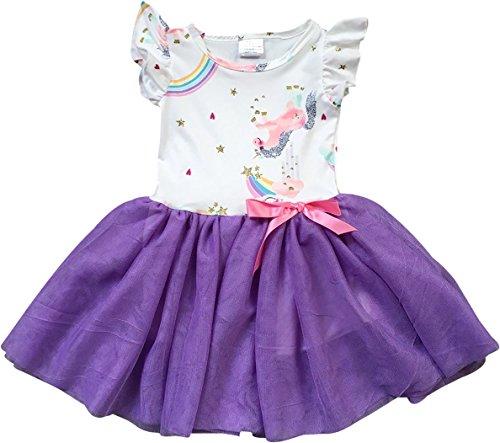 Little Girl Dress Kids Cap Sleeve Unicorn Mesh Summer Flower Girl Dress Purple 2T XS (201296)