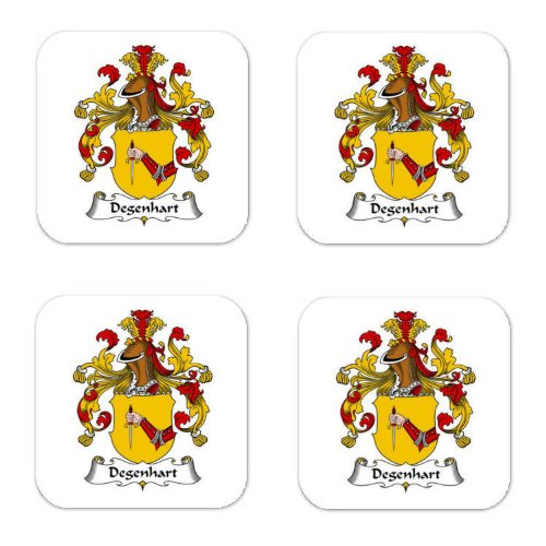 Degenhart Family Crest Square Coasters Coat of Arms Coasters - Set of 4