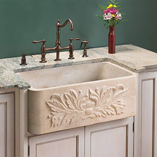 "Signature Hardware 254610 Ivy 24"" Single Basin Marble Farmhouse Sink for Undermount Installations"