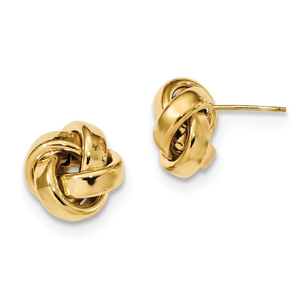 Solid 14k Yellow Gold Polished Love Knot Post Earrings (12mm x 12mm)