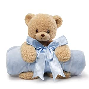 Gund Baby Blanket Set, Teddi Bear & Blue (Discontinued by Manufacturer)