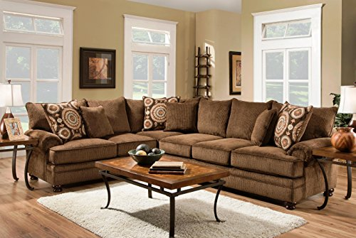 Chelsea Home Furniture Ria 2-Piece Sectional, Twill Chocolate/Sumatra Chestnut